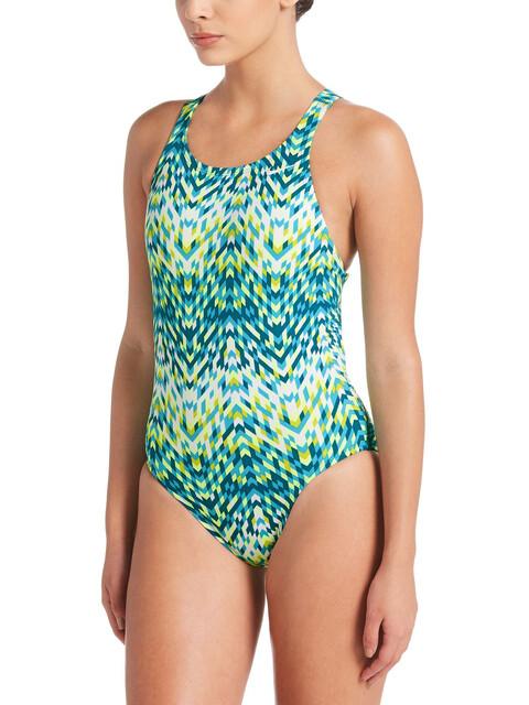 Nike Swim Digi Arrow Power Back Bañador Mujer, lt blue fury